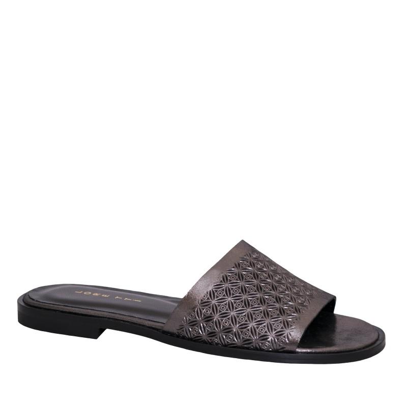 LORETTI Low heel leather Antracite Metallizzato slides