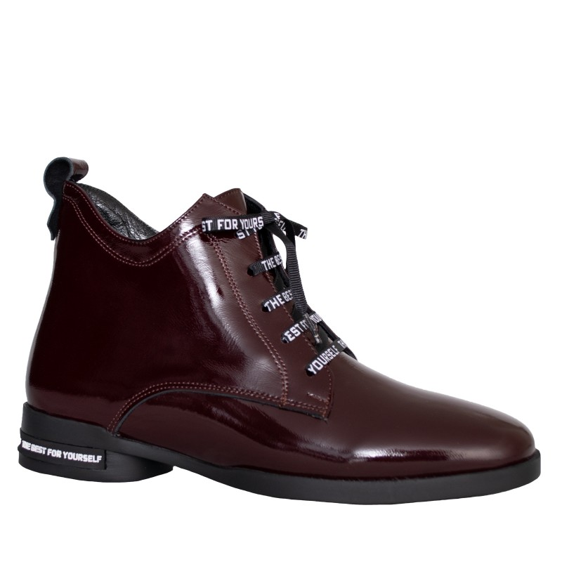 LORETTI Low heel patent leather Chianti boots