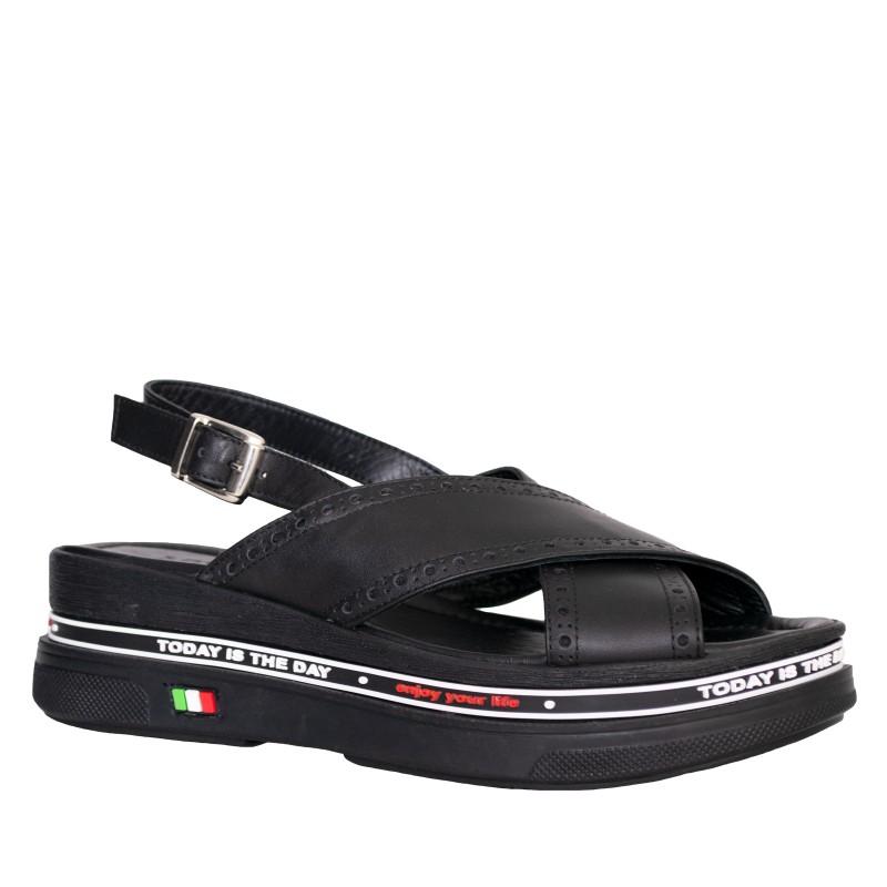 LORETTI Thick sole leather Nero slingbacks
