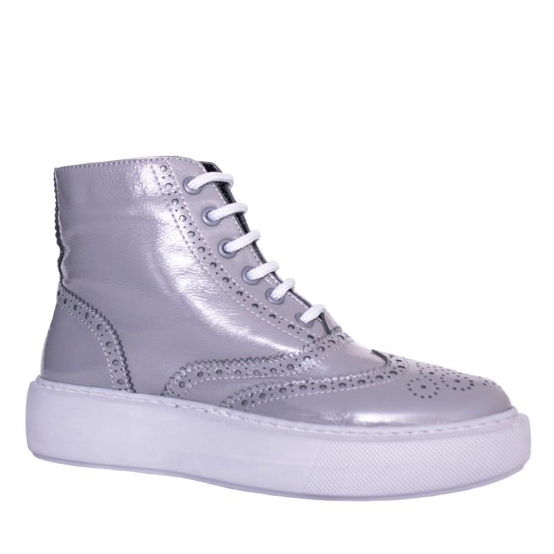 LORETTI Thick soled patent leather Grigio boots