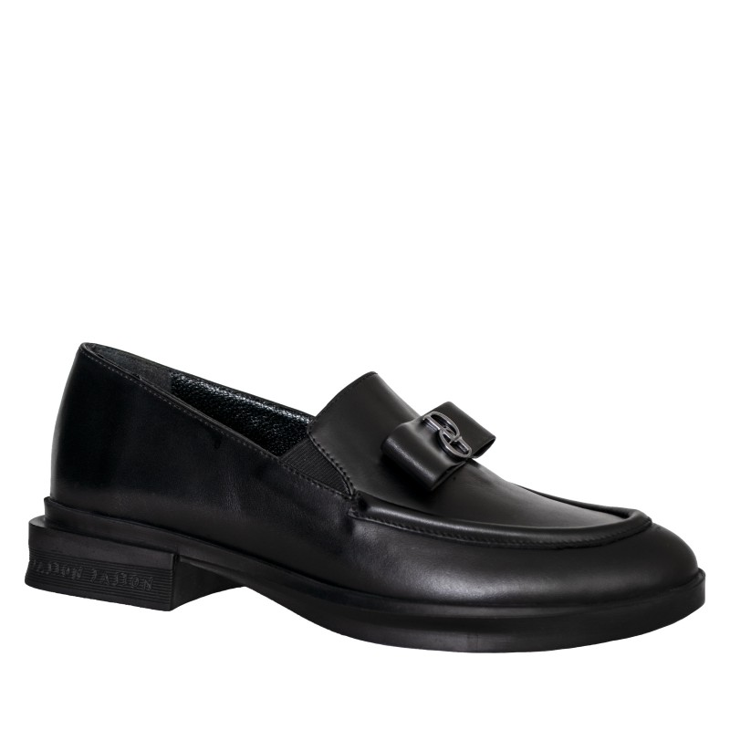 LORETTI Black leather Carbone Loafer shoes