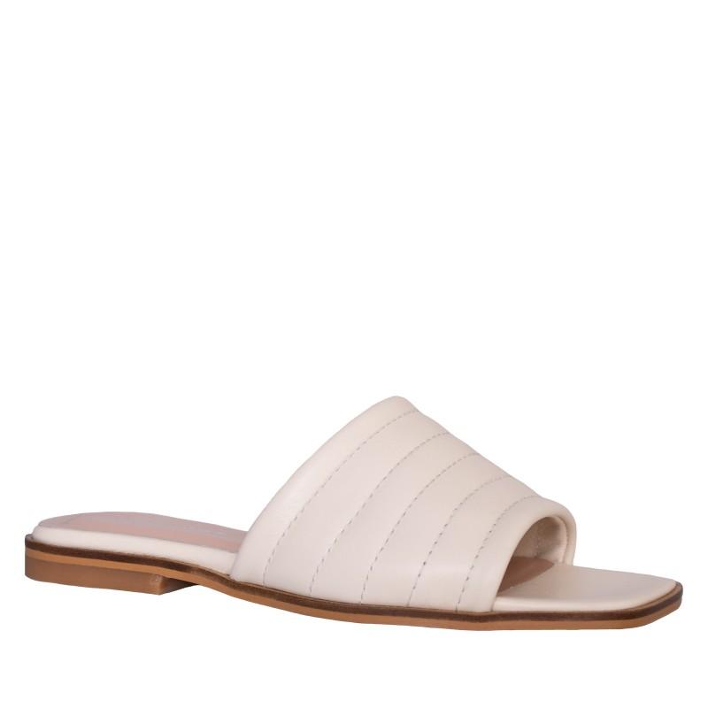 LORETTI Low heel leather Latte slides