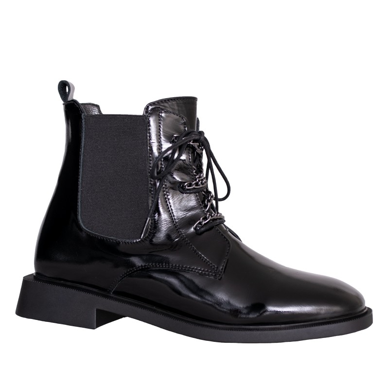 LORETTI Low heel patent leather Coal Black boots
