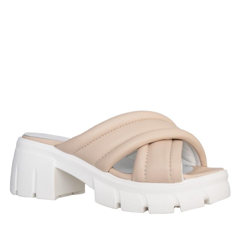 LORETTI Thick sole leather Nude slides