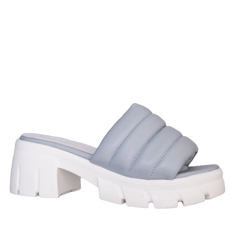 LORETTI Thick sole leather Grigio slides