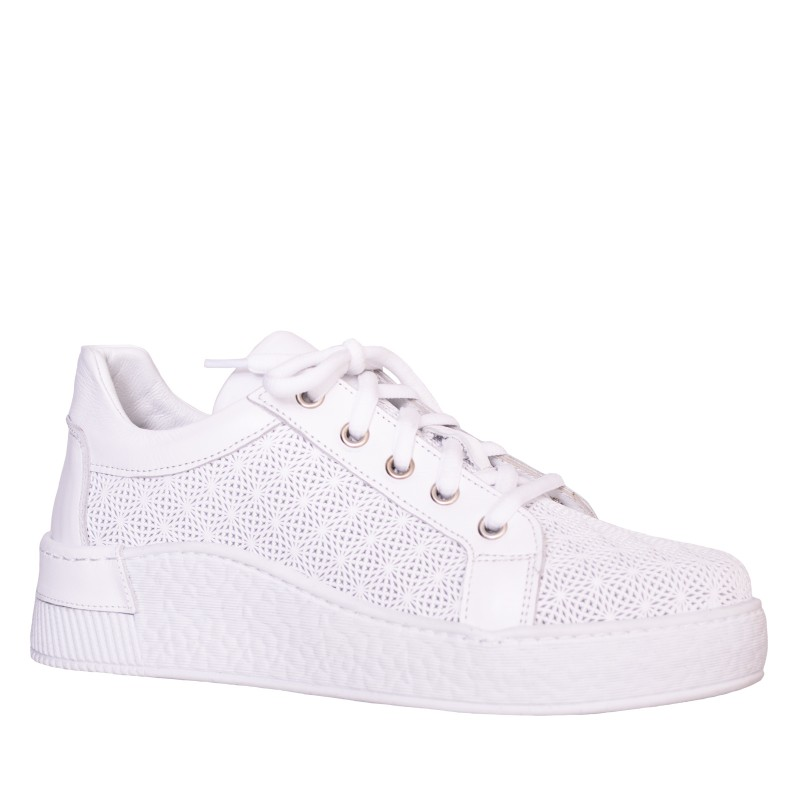 LORETTI White leather Bianco Neve sport shoes