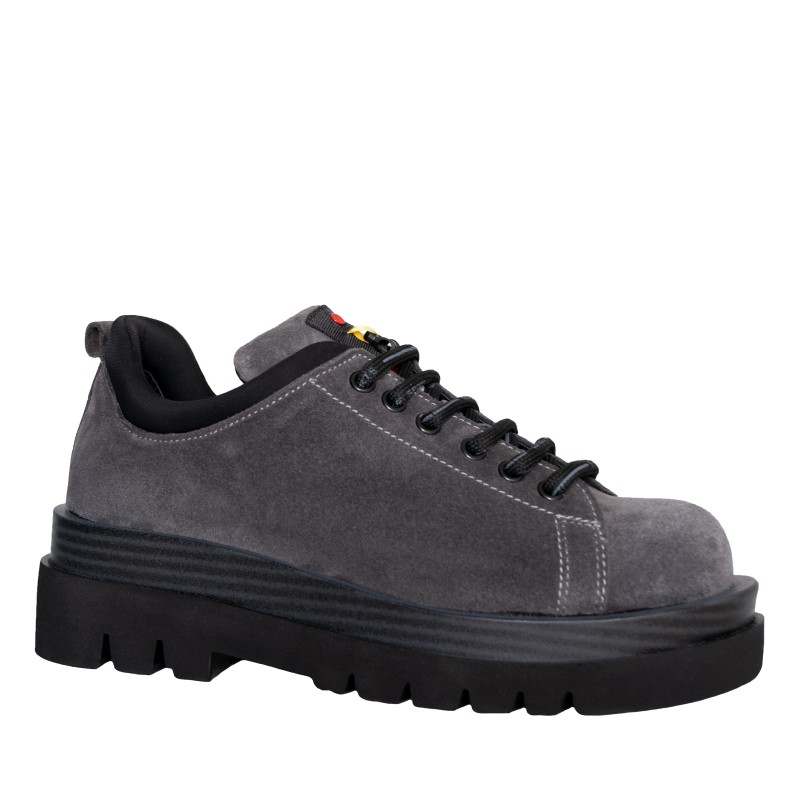 LORETTI Thick soled suede Grigio Scuro lace-up shoes