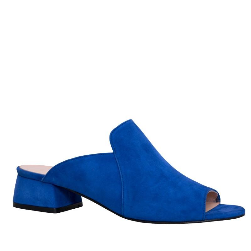 LORETTI Medium heel suede Royal Blue slides