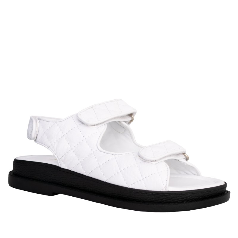 LORETTI Thick sole leather Bianco Neve sandals