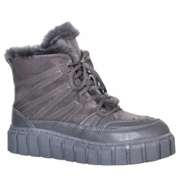 LORETTI Thick soled leather Grigio boots