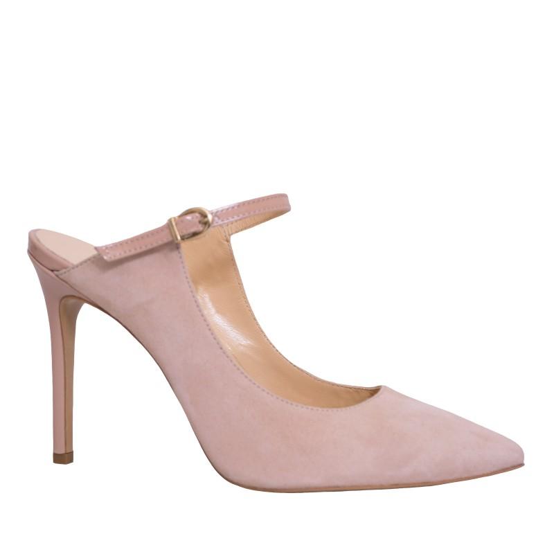 LORETTI High heel suede Latte slides