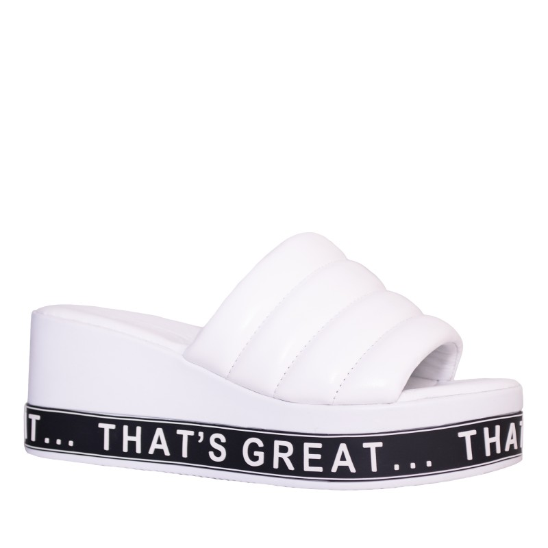 LORETTI Thick sole leather White Snow slides