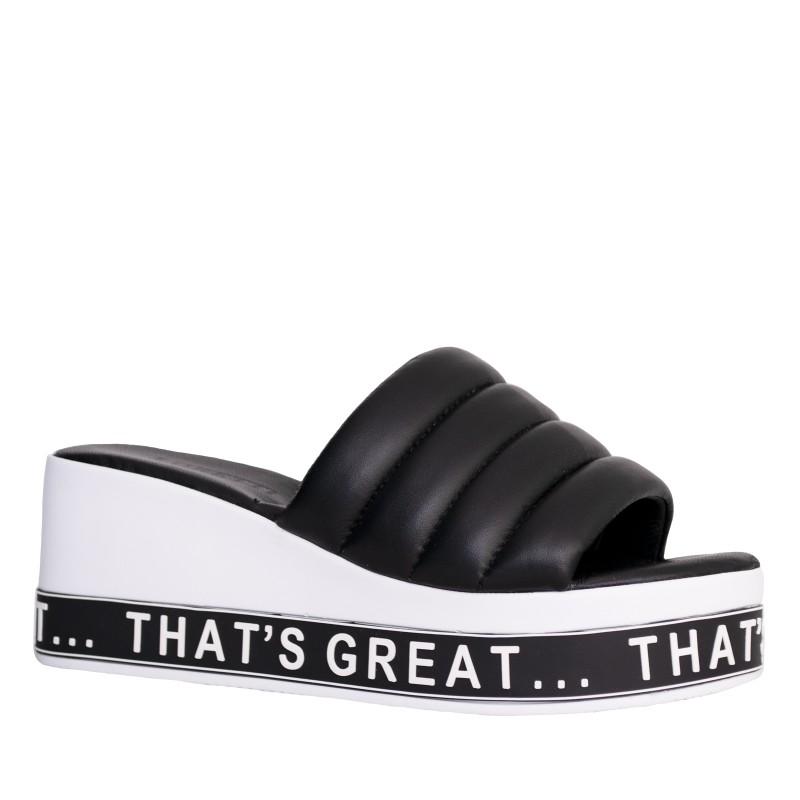 LORETTI Thick sole leather Carbone slides