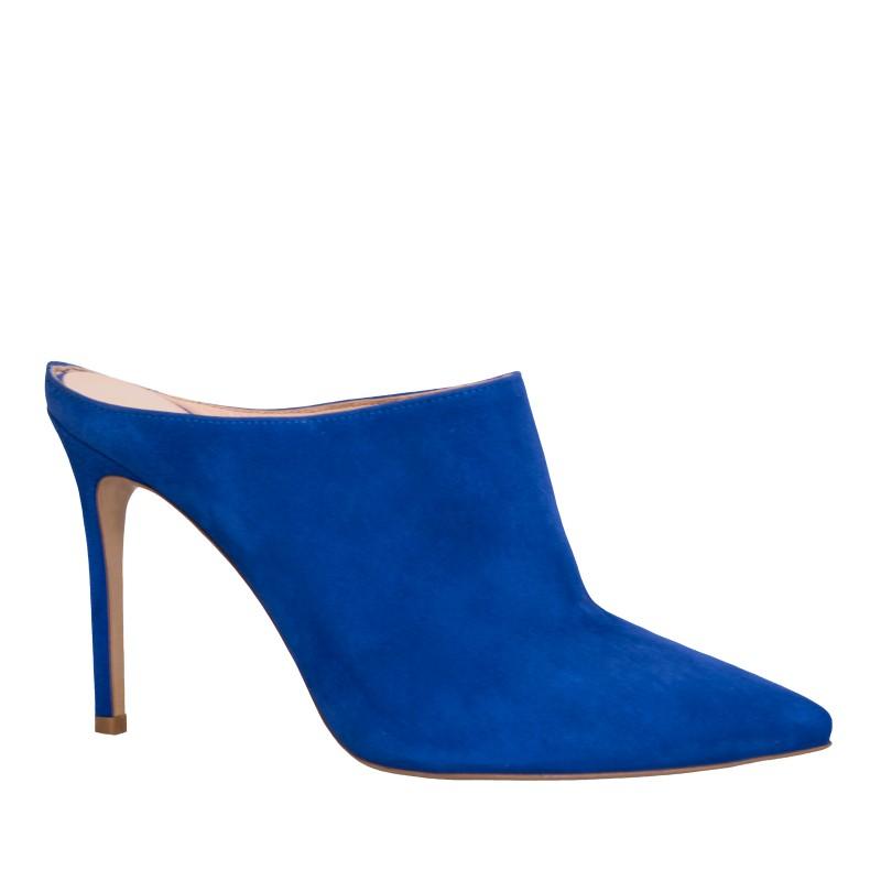 LORETTI High heel suede Royal Blue slides