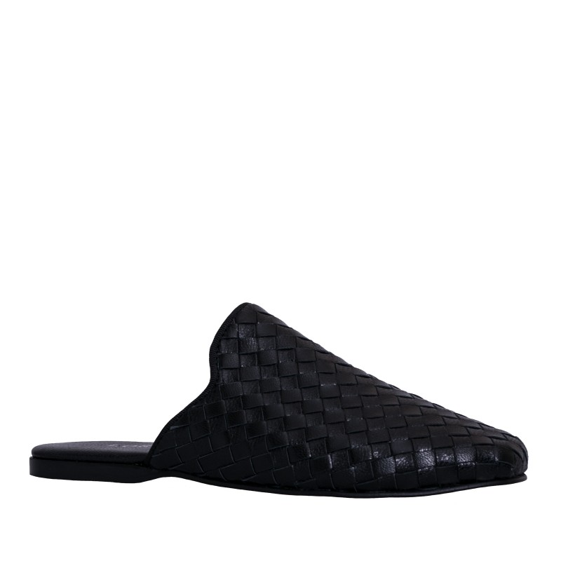 LORETTI Low heel leather Carbone slides