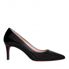 LORETTI Low heel black patent leather Carbone shoes