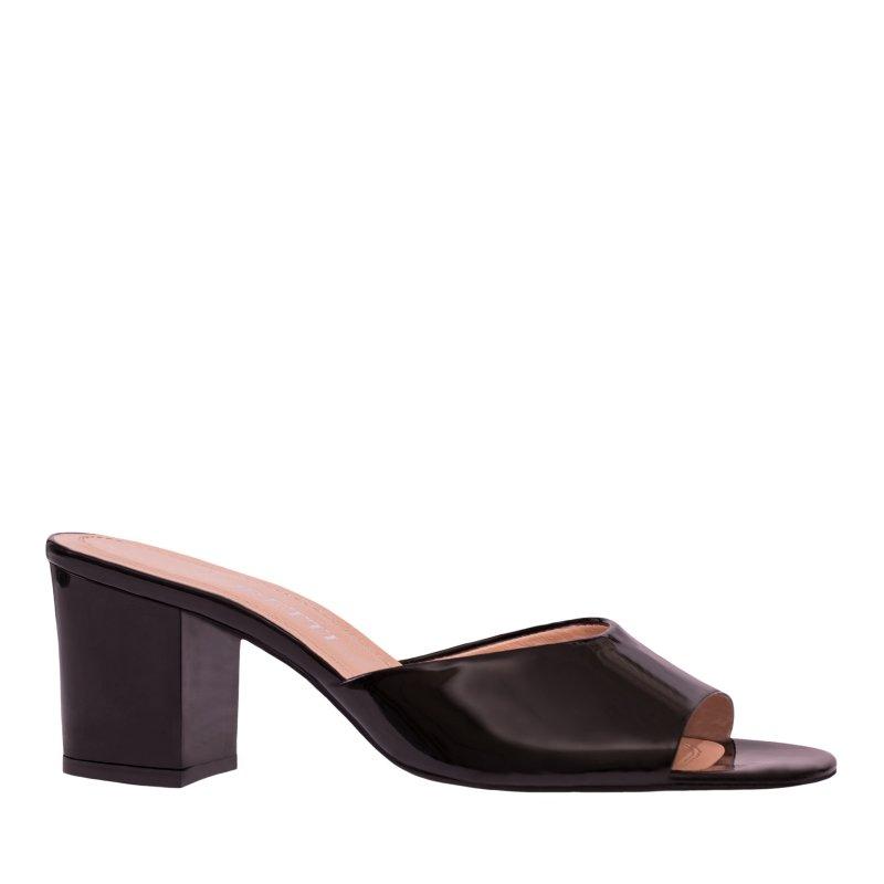 LORETTI Medium heel patent leather Carbone slides
