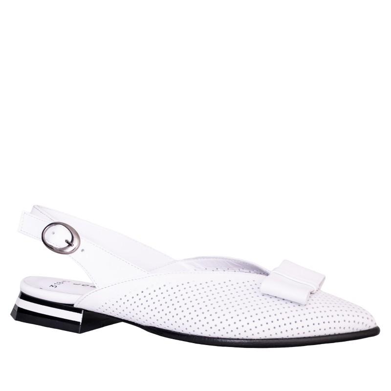 LORETTI Low heel leather Bianco Neve slingbacks