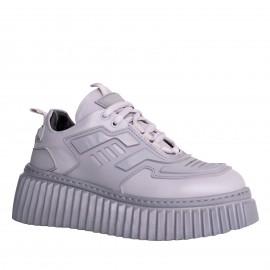 LORETTI Gray leather Grigio sport shoes