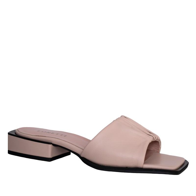 LORETTI Low heel leather Crema slides
