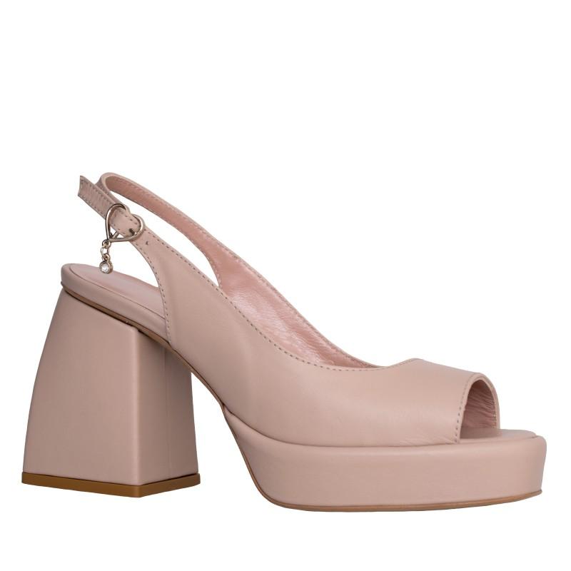 LORETTI Medium heeled platform leather Crema slingbacks