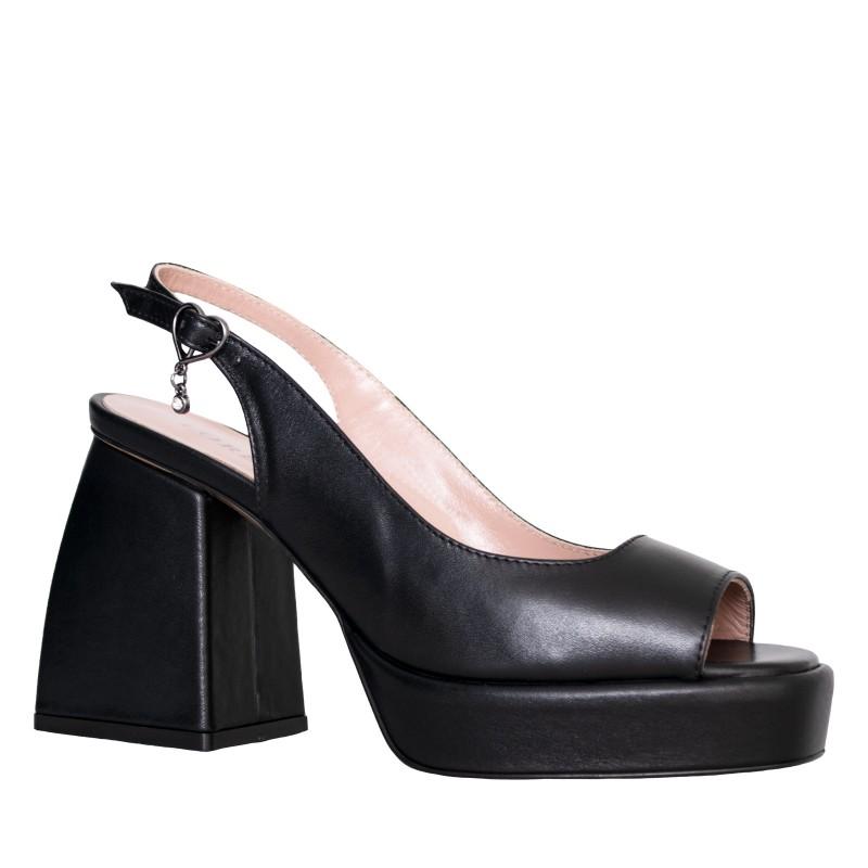 LORETTI Medium heeled platform leather Carbone slingbacks