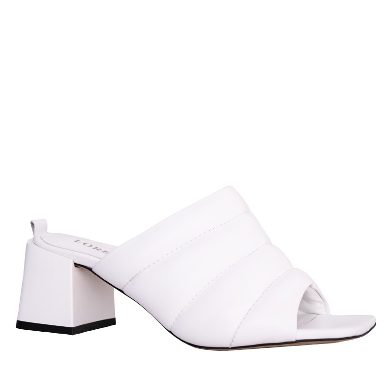 LORETTI Medium heel leather White Snow slides