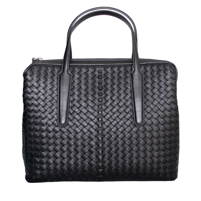 LORETTI Large weaved leather Carbone Top Handle Bag