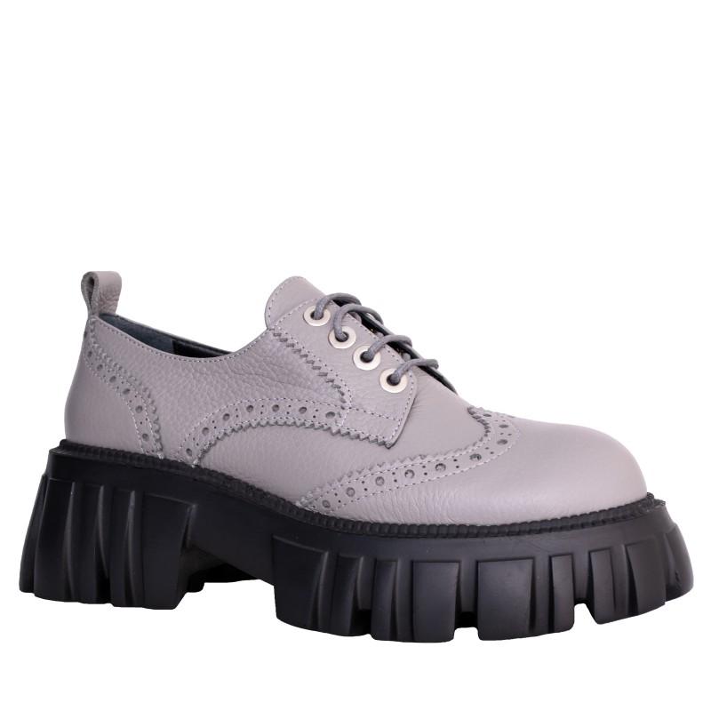 LORETTI Thick soled leather Grigio oxford shoes
