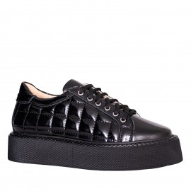 LORETTI Black patent leather Carbone sport shoes