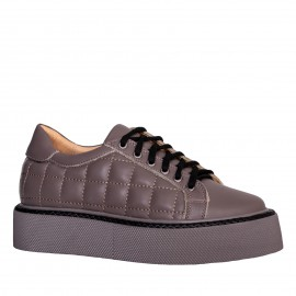 LORETTI Dark beige leather Cappuccino sport shoes