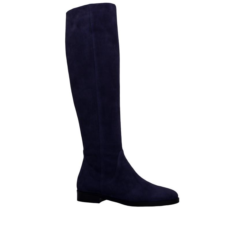 LORETTI Low heel suede Blu Notte high boots