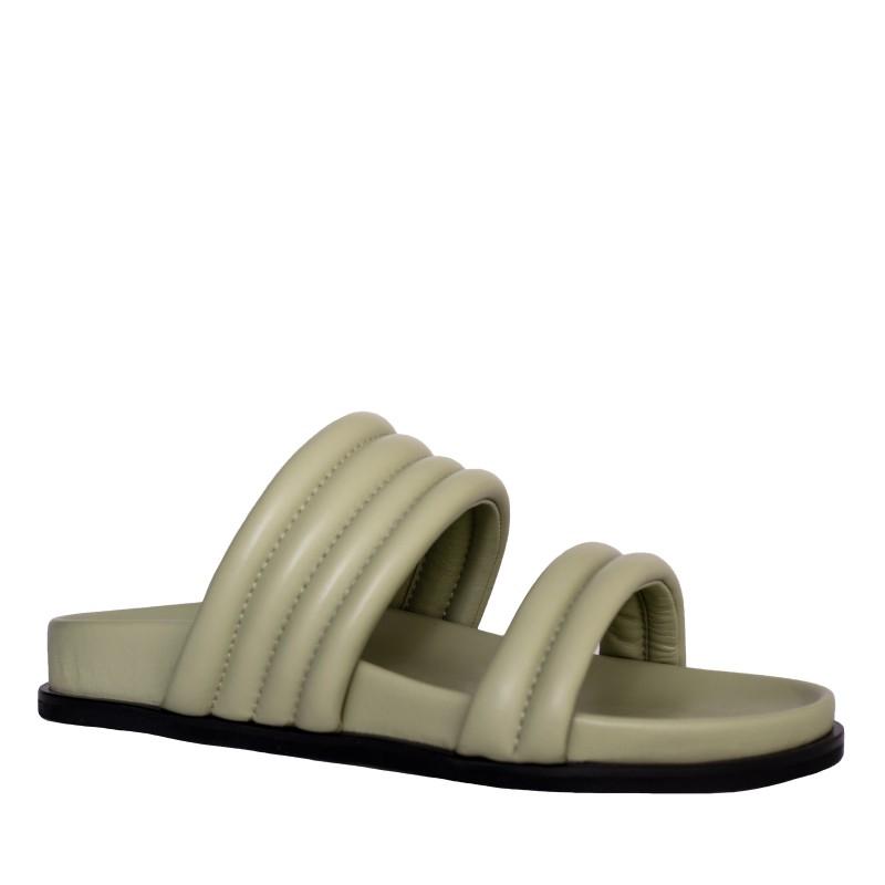 LORETTI Thick sole leather Verde Oliva slides