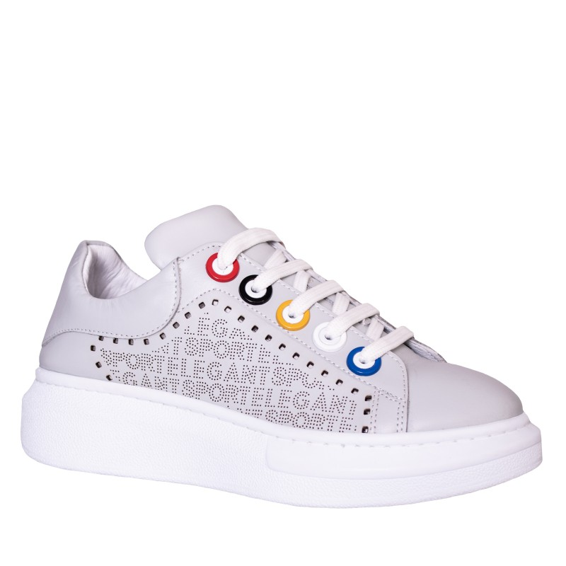LORETTI Grey leather Grigio sport shoes