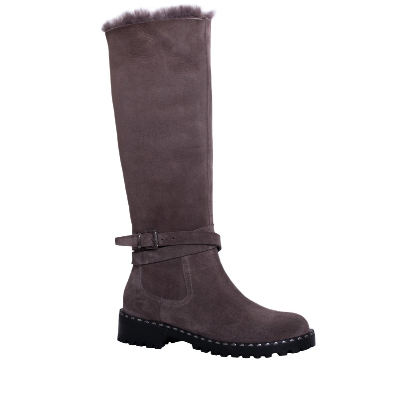 LORETTI Thick soled suede Cappuccino high boots