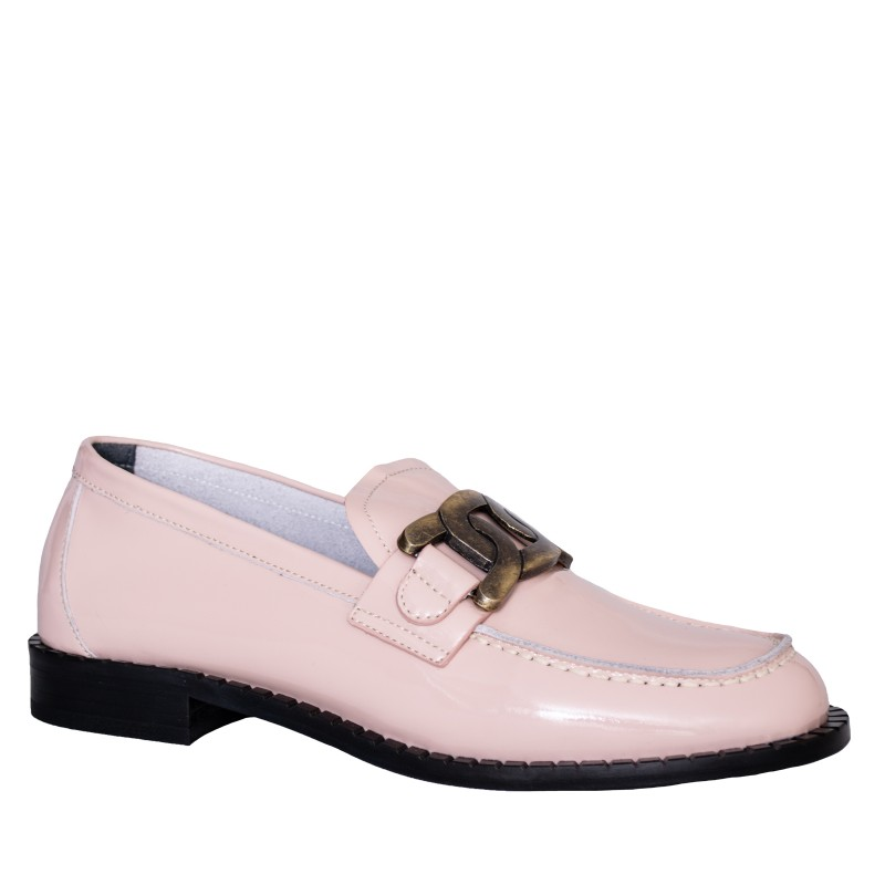 LORETTI Patent leather Nude loafer shoes