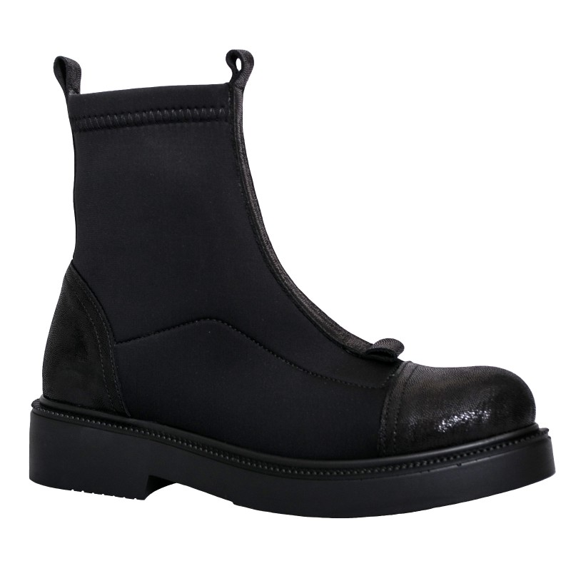LORETTI Leather and elastic textile Carbone thick soled boots