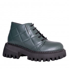 LORETTI Thick soled leather Olive Branch boots