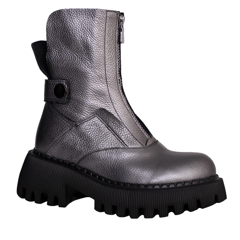 LORETTI Thick soled leather Antracite Metallizzato boots