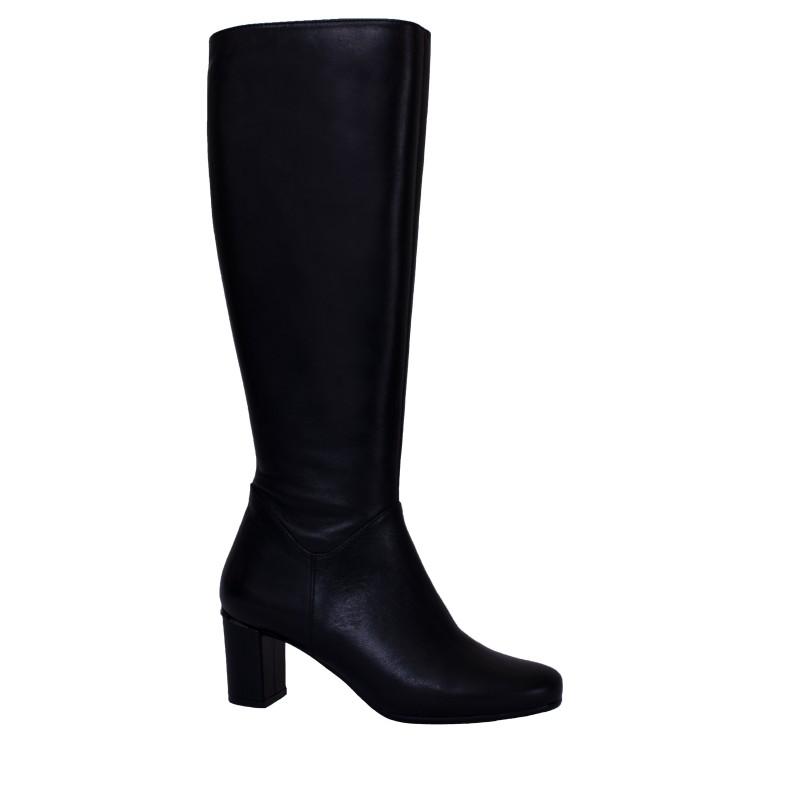 LORETTI Medium heel leather Carbone high boots