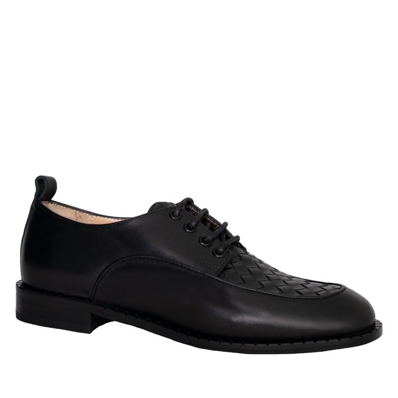 LORETTI Leather Corvo Nero oxford shoes