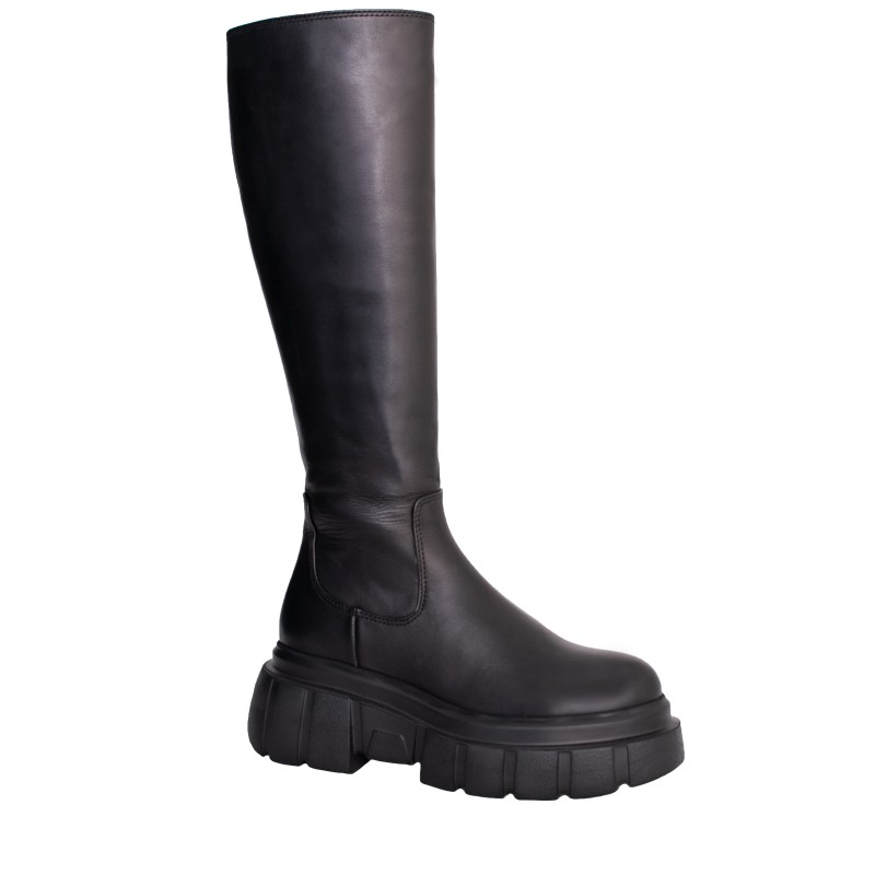 LORETTI Leather Carbone thick soled high boots