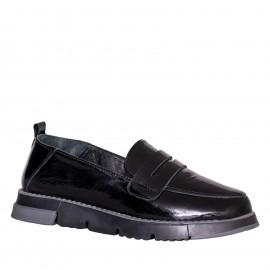 LORETTI Patent leather Coal Black slipper shoes