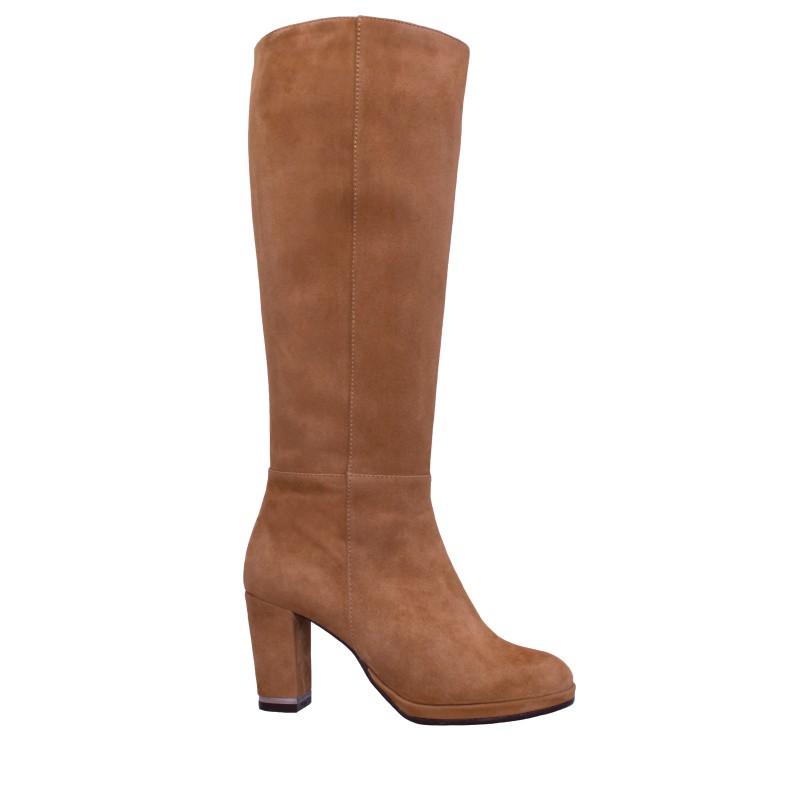 LORETTI Medium heel platform suede Camel high boots