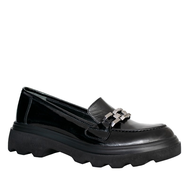 LORETTI Thick soled patent leather Carbone loafer shoes