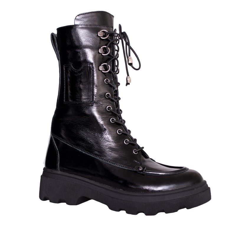 LORETTI Thick soled patent leather Coal Black boots